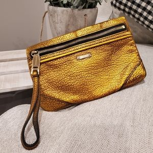 Authentic Burberry leather wristlet clutch